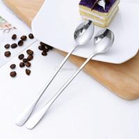 Из нержавеющей стали длинной ручкой Ложка кофе латте Ice Cream Soda Пломбир КОКТЕЙЛЬ совок кухня Коварно кофейные WX9-1812