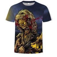 AC DC Heavy Metal Müzik Serin Klasik Rock Band Kafatası kafa tişörtler Moda Rocksir Tişörtlü Erkekler 3D Tişört DJ Tshirt Erkek Gömlek