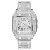 Hip Hop gefror heraus Männer Uhr-Quadrat-Diamant-Quarz-Männer Armbanduhren Gold-römischen Kalender Stahl Uhr Relogio Masculino