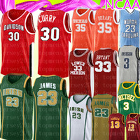 NCAA Stephen 30 Curry Hommes Kevin 35 Durant Jersey lycée 23 Logos de broderie LeBron James Logos