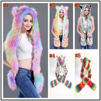 Kobiety Kolorowe Faux Futro Hat Up Hood Zwierząt Rainbow Hat Wilk Pluszowe Ciepłe Zwierząt Czapka Z Szalik Rękawice Party Scarf Mittens 5 Kolory Zza898