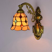 European- style art wall lamp bedroom bedside lamp Tiffany re...