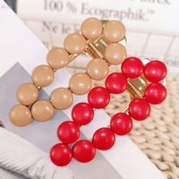 AOMU 2019 Fashion Solid Color Leather Beads Hairpins Hair Cl...