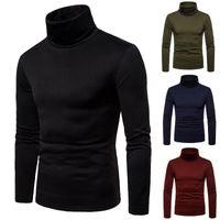 2019 nouveaux automne hiver hommes pull col roulé hommes solide couleur pull décontracté hommes Slim Fit marque pull en tricot