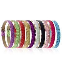 Pelle 8MM PU Glitter Wristband Bracciali Paillette Wrap braccialetto fai da te accessori adatti per Slide gioielli fascino della lettera Bead per donne degli uomini