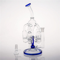 Blue Glass Bongs joint 14. 4mm Best Circulation 5 Honeycomb P...