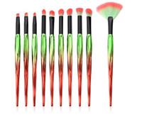 أدوات تجميل 10PCS فرش الماكياج عالية الجودة مجموعة مروحة فرشاة ظلال العيون فرشاة الراقية الأحمر ومقبض من البلاستيك الأخضر