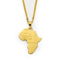 Rock Hippie Afrikanische Karte hängende Halskette 18K Gold Silber überzogene Seil-Ketten lange Halsketten-Partei-Schmuck für Boyfriend Geschenke