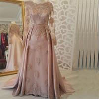 Suudi Arapça Müslüman Uzun Kollu Abiye Pembe 2020 Kaftan Dubai Balo Parti Elbise Şık Dantel AYDINLATMA vestido de gala