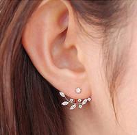 Yaprak Kulak Manşet - Kadın Kız Cz Kristal Kulak Ceket Ön Arka Stud Küpe