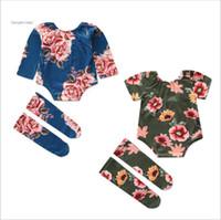 Ropa de las muchachas de los niños de verano Boutique sistemas de la ropa del bebé de las flores florales Tops Trajes calentador de la pierna camiseta impresa de calcetines largos Medias oufits B5674