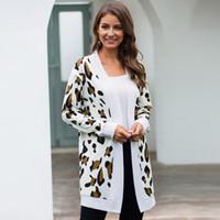 새로운 트렌치 코트 여성 자켓 2,019 긴 V 넥 가디건 핫 스타일의 캐주얼 표범 무늬 코트 로파 mujer vestidos NX1613