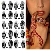 Imperméable 2Pcs / 1 Set Temporaire Tatouage Autocollant Body Art Hommes Femmes Indien Henné motif Beauté Imperméable À L'eau Faux Bras De Tatouage À La Main