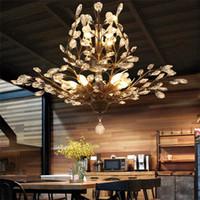 K9 lustre en cristal a conduit une branche d'arbre pendentif Lampes fer lustres en cristal vintage vie moderne plafond lampe luminaire d'éclairage