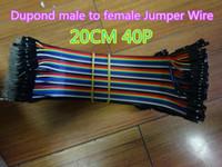 10pcs / lot New 2,54 milímetros Dupond masculino para fita colorida do sexo feminino Jumper fio 1P-1P 20CM 40P Breadboard árduo Assembléia Cable Em armazém frete grátis