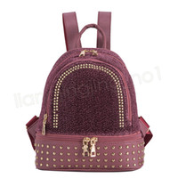 52ced25d92 Wholesale hiking backpack for sale - Women Rivet Backpacks Fashion PU  Leather Shoulder Bag Zipper SchoolBag