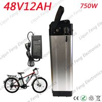 Envío gratis E-bike Batería de iones de litio 48V 12AH Silver fish 18650 Batería recargable con BMS Bafang 750W Motor Enviar cargador.