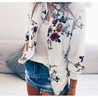 Retro impreso floral de la cremallera chaqueta corta Mujer Bombardero Mujer Primavera Outwear informal de manga larga de la ropa de las mujeres más el tamaño 5XL JK04