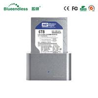 """알루미늄 hdd 상자 3.5 """"sata에 usb 유형 c 3.0 독서 1-6TB hdd SATA 외부 하드 디스크 울안 1 bay hdd 도킹 스테이션"""