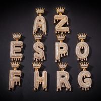 2020 A-Z Custom Name Blase Buchstaben Halskette Herrenmode Hip Hop Schmuck Iced Out Gold Silber Crown Anfangsbuchstabe-Anhänger-Halskette