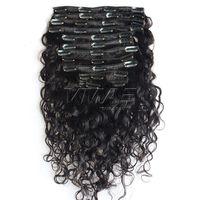 Clipe em extensões de cabelo onda de água cabelo peruano cor natural Duplo desenhado 7 pcs / set 100g 120g 140g 160g extensão de cabelo humano virgem