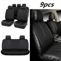 9PCS الأسود PU الجلود مقعد السيارة غطاء كامل مجموعة الجبهة المقعد الخلفي وسادة حصيرة حامي