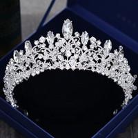 Preciosa princesa coronas de boda grandes tocados de joya nupcial tiaras mujeres metal plateado Cryst tocados europeos joyería accesorios nupciales