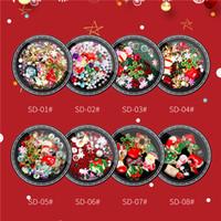 8 modèles de Noël en alliage métal bonhomme de neige Nail Art Décorations Charms bricolage ongles strass 3D Accessoires Outils
