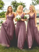 Dusty Pink Tulle Bridesmaid Dresses Spaghetti Straps Boho Ruched Pleats Floor Length Maid of Honor Gown Custom Made Formal Occasion Wear