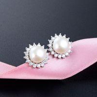 Andere Ohrringe Accessoires S925 Sterling Silber Perle Damenmode Zirkon Schmuck Großhandel