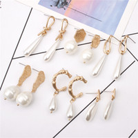 New Fashion Gold Plated Irregular Pearl Dangle Earrings For ...
