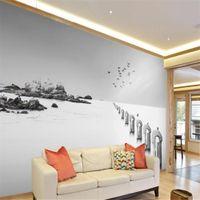 Пользовательские 3d фото обои 3d стереоскопические обои абстрактные черно-белые море птицы Обои фоновая стена