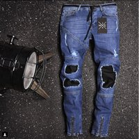 Mens Moda Denim Blue Jeans Remendado Desenhador Masculino Rapper Skate Biker Pencil Jeans