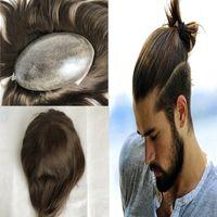 Braunes menschliches Haar Männer Toupee Europäische Natural Hair Toupee für Männer Volle Haut Pu Toupee Haarteil Ersatz System