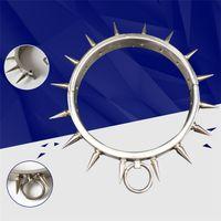 Più nuovo Unisex in acciaio inox Stab Stimolare Necklet Neck Ring Collare Restraint Bondage Castità Blocco Adulti BDSM Giochi del sesso Giocattolo Prodotto