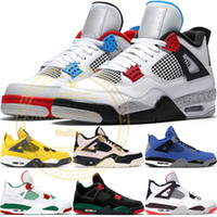 2019 Nike Air Jordan 4 Retro New Bred 4 4S IV Qu'est-ce que le Silt Red Splatter Hommes Chaussures de Basketball Denim Bleu Eminem Pale Citron Sports Designer Sneakers 41-47