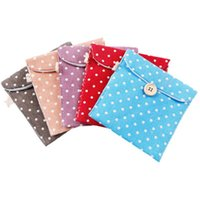 Bolsa de algodón de las muchachas Ropa de compresa higiénica mujeres del bolso de la servilleta portable del sostenedor de toalla sanitaria organizador del almacenaje de la bolsa