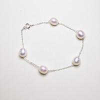 S925 Sterling Silver Pearl браслет Jewelry 6-7мм High Gloss Pearl браслет для женщин ювелирных изделий способа Подруга подарков