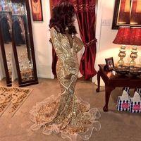 Труба роскошный блеск золотые платья выпускного вечера 2020 русалка сексуальные африканские вечерние платья глубокие V шеи Vestidos особое время
