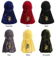 Moda Uomo Tigre Pattern Durags Bandane in velluto Copricapo Coda lunga Headwrap Turbante Cappello Fascia copricapo Accessori Copricapo