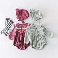 Ребёнок дизайнерская одежда ползунка с длинным рукавом сплошной цвет животное PAN воротник воротник ромпер младенческих детей 100% хлопок весенняя осень девушка одежда