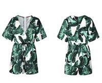 Verano flora Impreso para mujer del mono de V profundo con paneles Mujer mamelucos Short Beach manera de la manga ropa de mujer