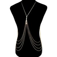 الخصر سلسلة الإناث فاسق المجوهرات البطن bodychain مثير المعادن الذهب والفضة سلسلة متعدد الطبقات الشرابة اللؤلؤ الجسم سلسلة قلادة للنساء