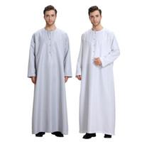Erkekler Uzun Kollu Müslüman Jubba Thobe Orta Doğu Arap Robe Elbise Katı Artı Boyutu İslam Giyim Erkekler Thobe Jubba Ücretsiz Kargo