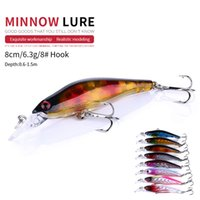 NEWUP 8pcs 8cm 6.3g Quality Minnow Pescaria Fishing Lure 3D Eye Bass Topwater Hard bait crankbait wobblers For fishing tackle