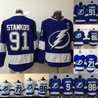 2019 New 21 Brayden Point Tampa Bay Lightning 9 Tyler Johnson 88 Andrei Vasilevskiy 91 Steven Stamkos Herren-Jugend-Kinder-Hockey-Trikots für Damen