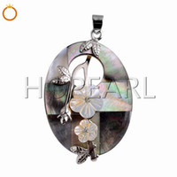 Black Shell Pendant with White Flowers Oval Natural Ocean Sh...