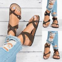 2019 Women Summer Beach Rome Cross- Strap Flat Leather Toe Ri...