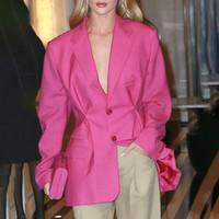 2020 ربيع نجوم التصميم الجديد نفس النمط المرأة لون الوردة منذ فترة طويلة الأكمام معطف سترة بدلة بالاضافة الى حجم S M L