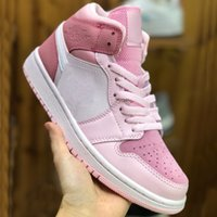 1 1s Mid Top Basketball Shoes delle donne di colore rosa Digitale Ragazze Atletica Sneakers UNC Sport Shoes Cherry Pink Casual Shoes Sneaker Chaussures